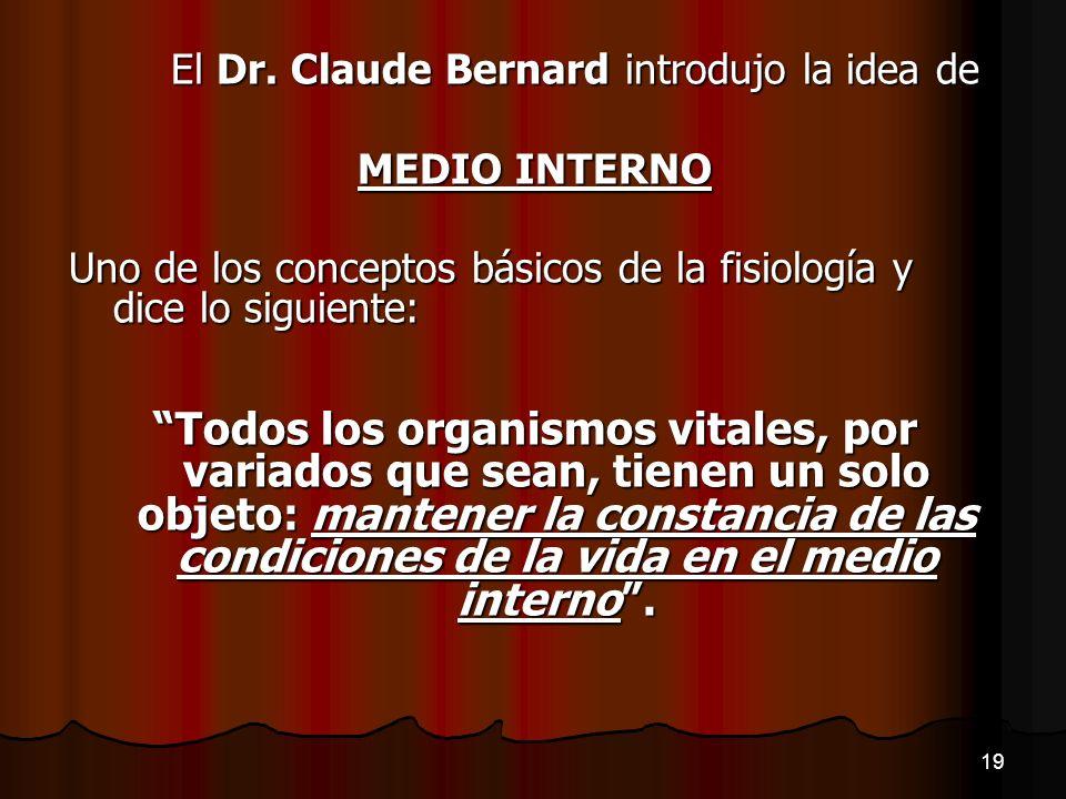 El Dr. Claude Bernard introdujo la idea de MEDIO INTERNO Uno de los conceptos básicos de la fisiología y dice lo siguiente: Todos los organismos vital
