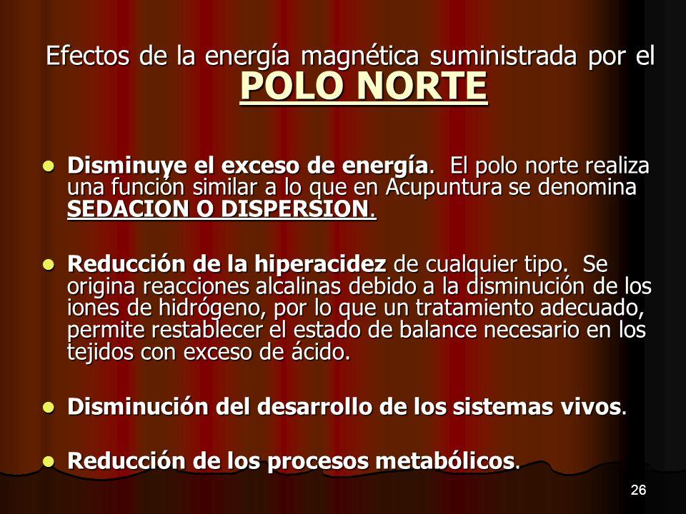 Efectos de la energía magnética suministrada por el POLO NORTE Disminuye el exceso de energía. El polo norte realiza una función similar a lo que en A