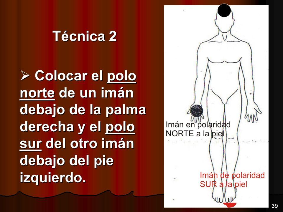 Técnica 2 Colocar el polo norte de un imán debajo de la palma derecha y el polo sur del otro imán debajo del pie izquierdo. Colocar el polo norte de u