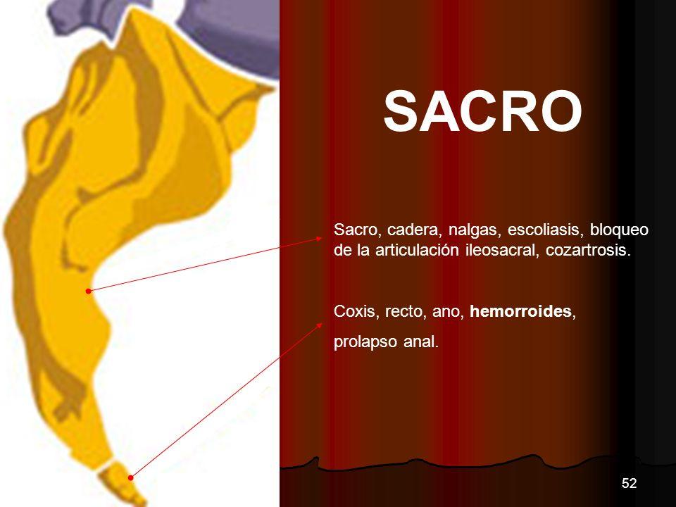 SACRO Sacro, cadera, nalgas, escoliasis, bloqueo de la articulación ileosacral, cozartrosis. Coxis, recto, ano, hemorroides, prolapso anal. 52