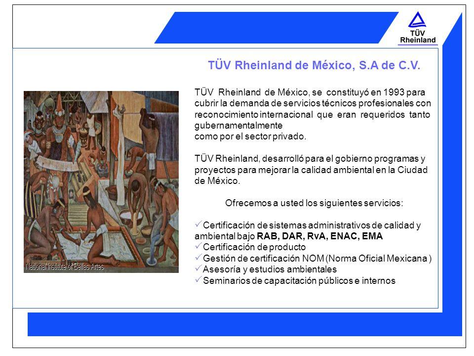 TÜV Rheinland TÜV Rheinland, es una organización la cuál desde 1872, ha estado involucrada en áreas industriales prestando servicios de: Inspección Ve
