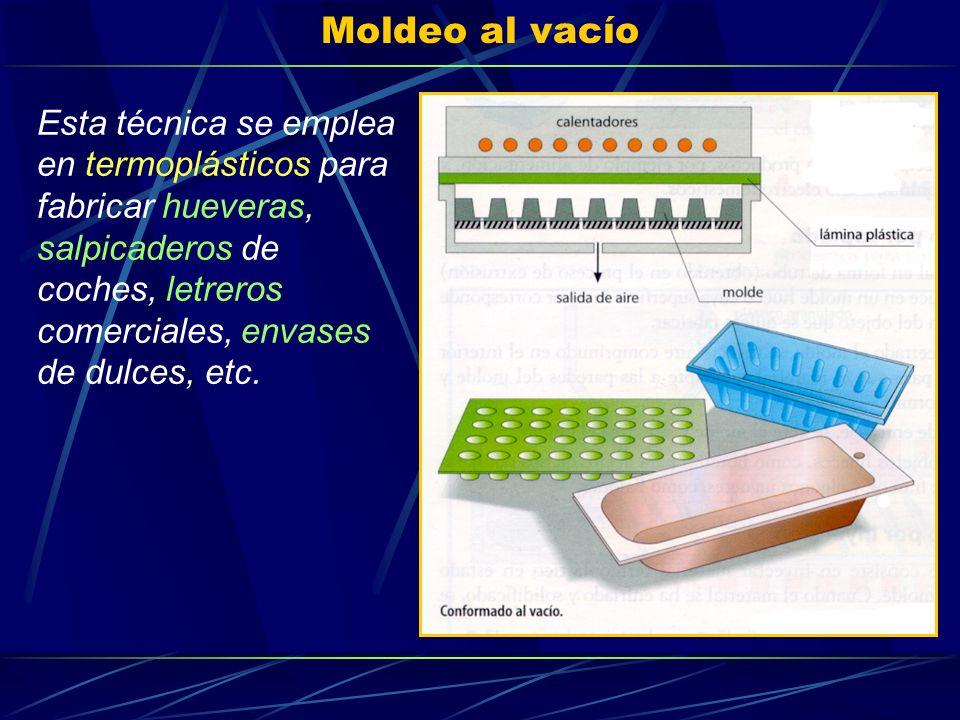 Moldeo al vacío Esta técnica se emplea en termoplásticos para fabricar hueveras, salpicaderos de coches, letreros comerciales, envases de dulces, etc.