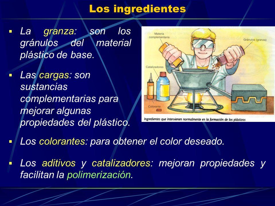 Los ingredientes La granza: son los gránulos del material plástico de base. Las cargas: son sustancias complementarias para mejorar algunas propiedade