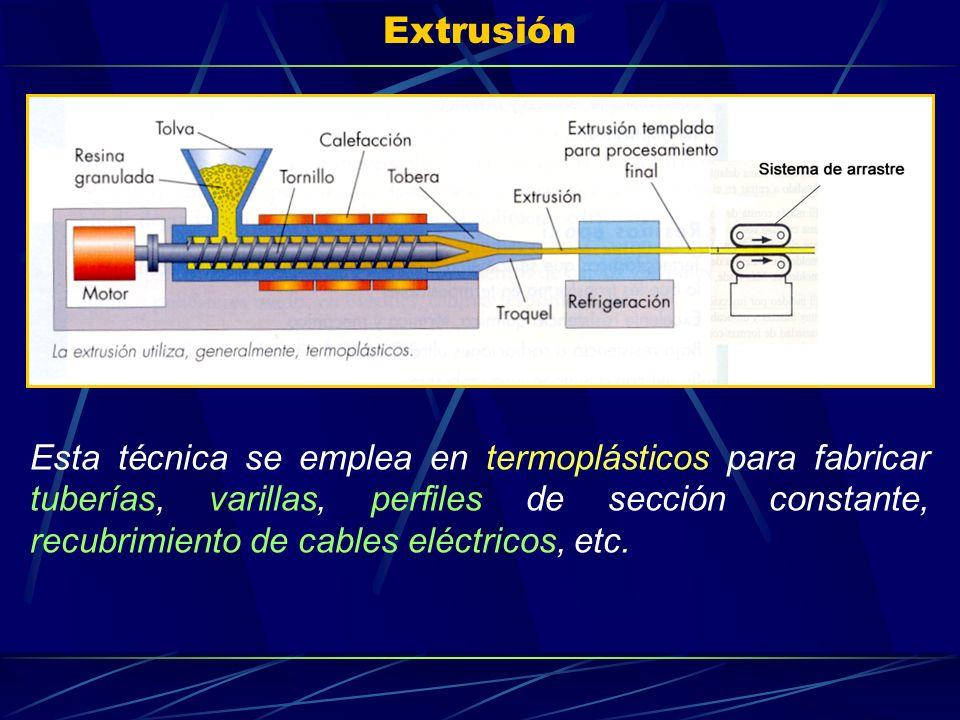 Extrusión Esta técnica se emplea en termoplásticos para fabricar tuberías, varillas, perfiles de sección constante, recubrimiento de cables eléctricos