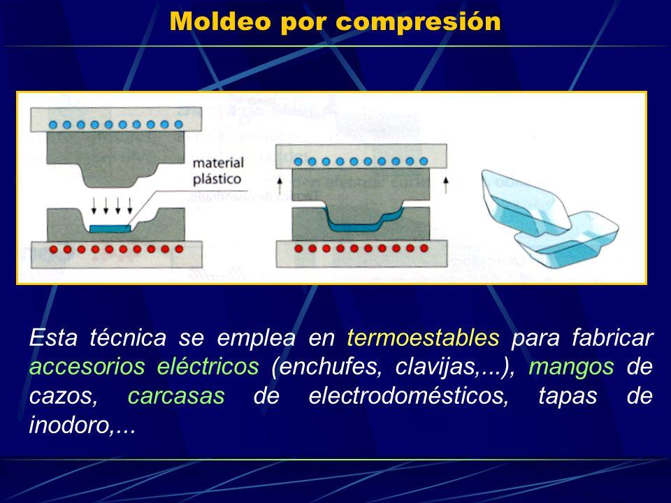 Moldeo por compresión Esta técnica se emplea en termoestables para fabricar accesorios eléctricos (enchufes, clavijas,...), mangos de cazos, carcasas