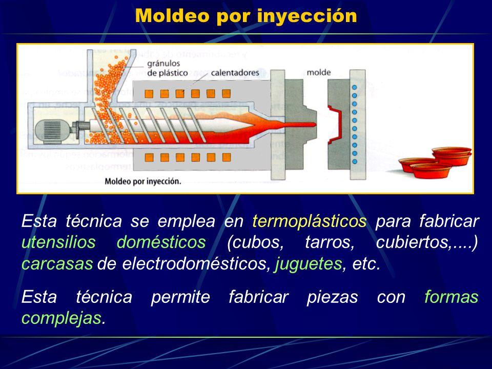 Moldeo por inyección Esta técnica se emplea en termoplásticos para fabricar utensilios domésticos (cubos, tarros, cubiertos,....) carcasas de electrod