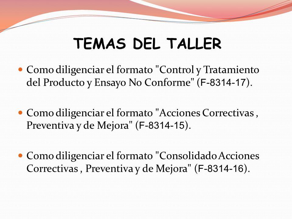 SECUENCIA ESQUEMÁTICA Identificar la No conformidad Diligenciar el formato Control y Tratamiento del Producto y Ensayo No Conforme ( F-8314-17 ).