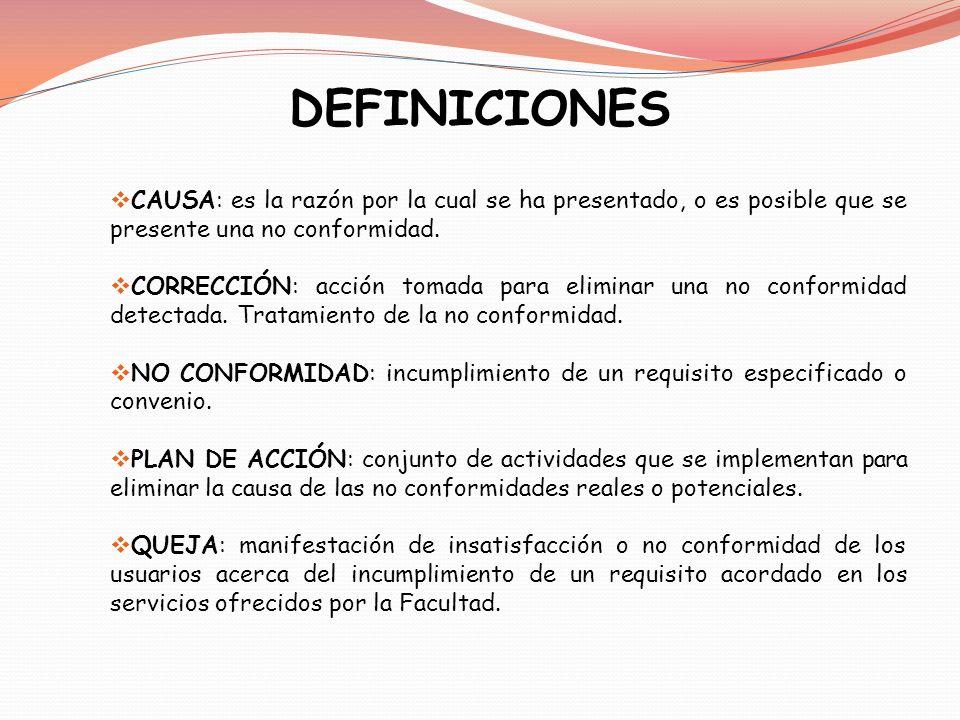 DEFINICIONES CAUSA: es la razón por la cual se ha presentado, o es posible que se presente una no conformidad. CORRECCIÓN: acción tomada para eliminar