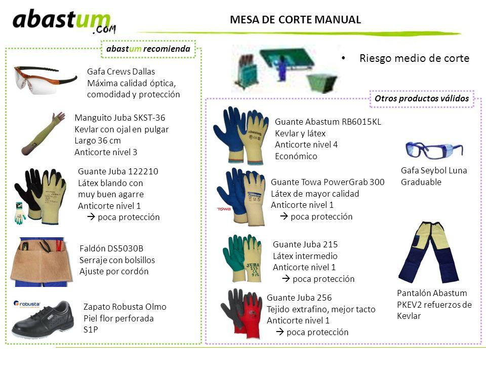 MESA DE CORTE MANUAL Guante Juba 122210 Látex blando con muy buen agarre Anticorte nivel 1 poca protección Gafa Seybol Luna Graduable Guante Juba 256