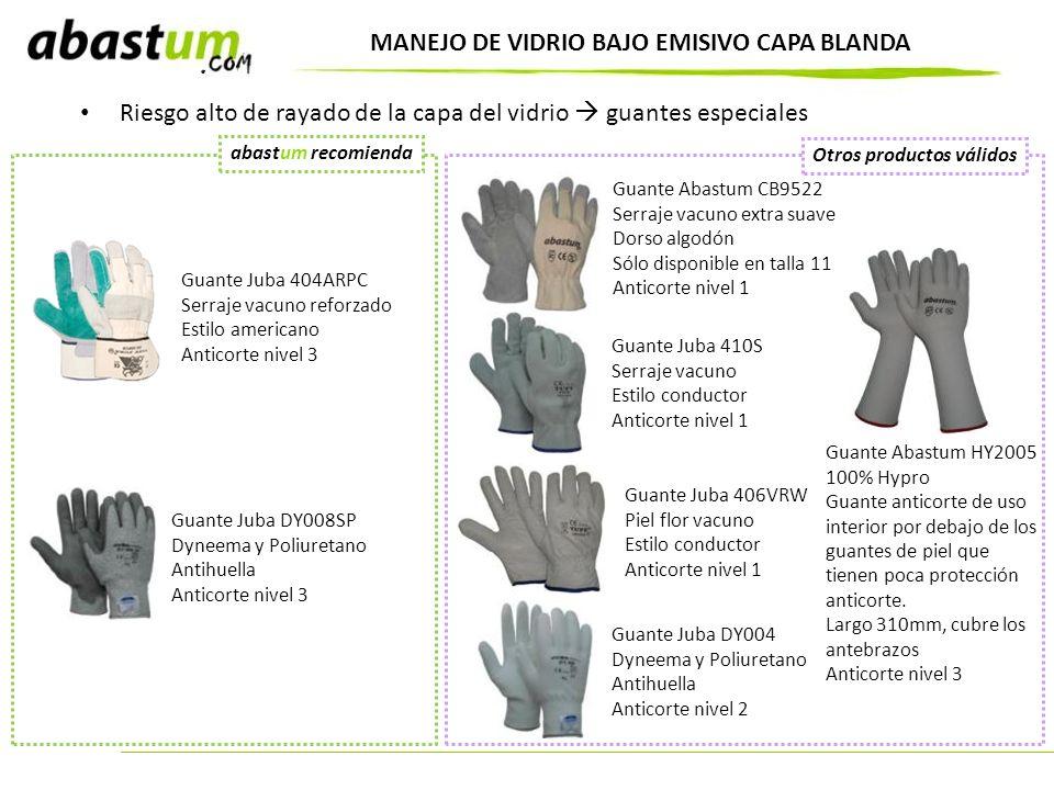 MANEJO DE VIDRIO BAJO EMISIVO CAPA BLANDA Riesgo alto de rayado de la capa del vidrio guantes especiales Guante Abastum CB9522 Serraje vacuno extra su