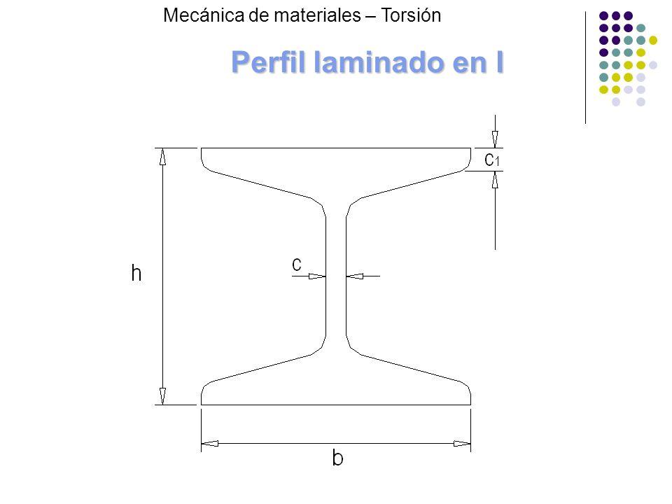 Perfil laminado en I Mecánica de materiales – Torsión