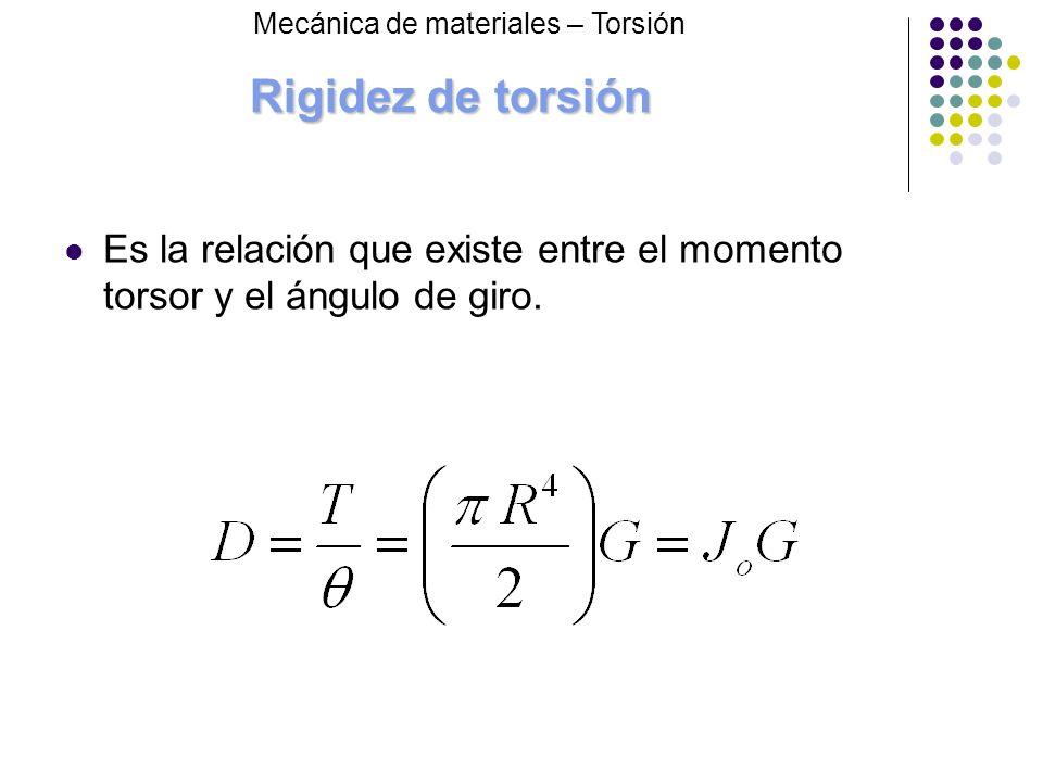 Rigidez de torsión Es la relación que existe entre el momento torsor y el ángulo de giro. Mecánica de materiales – Torsión