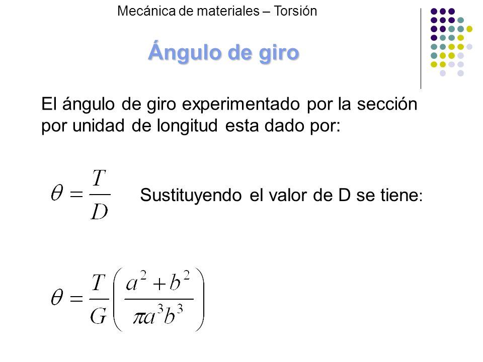 Ángulo de giro El ángulo de giro experimentado por la sección por unidad de longitud esta dado por: Sustituyendo el valor de D se tiene : Mecánica de