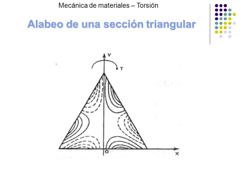 Alabeo de una sección triangular Mecánica de materiales – Torsión
