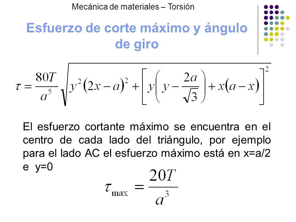 Esfuerzo de corte máximo y ángulo de giro El esfuerzo cortante máximo se encuentra en el centro de cada lado del triángulo, por ejemplo para el lado A