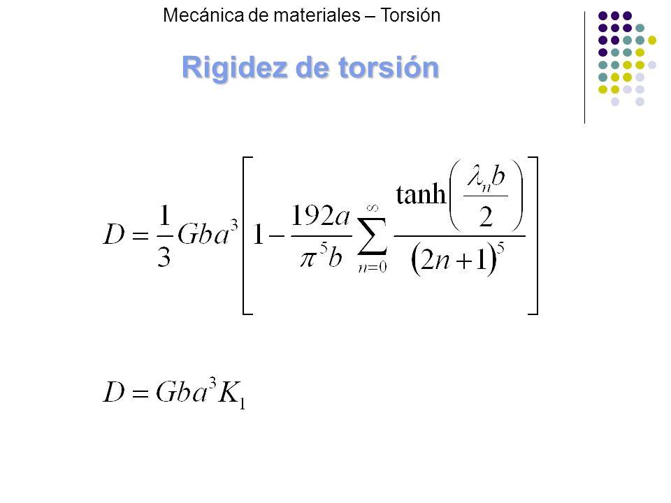 Rigidez de torsión Mecánica de materiales – Torsión