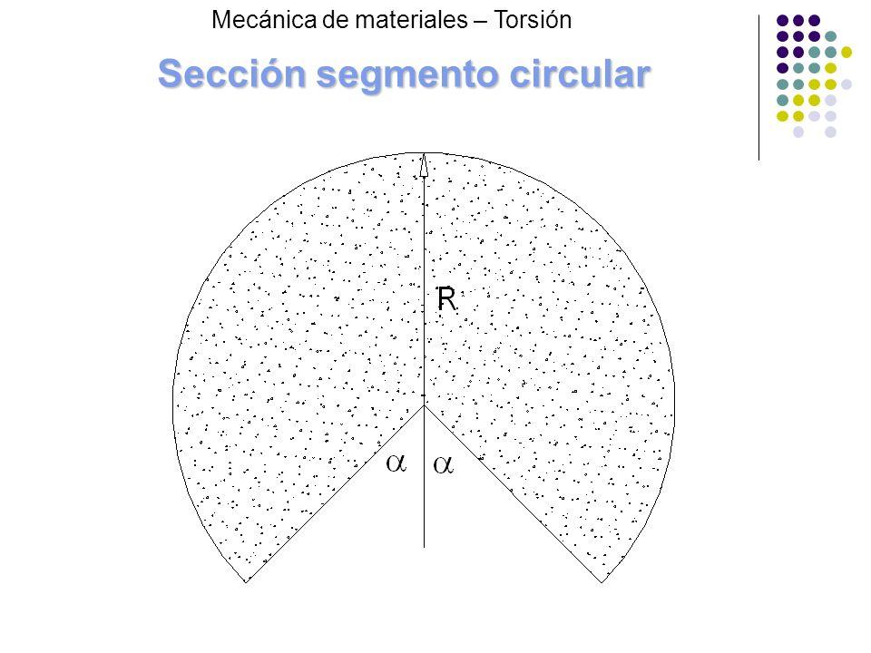 Sección segmento circular Mecánica de materiales – Torsión