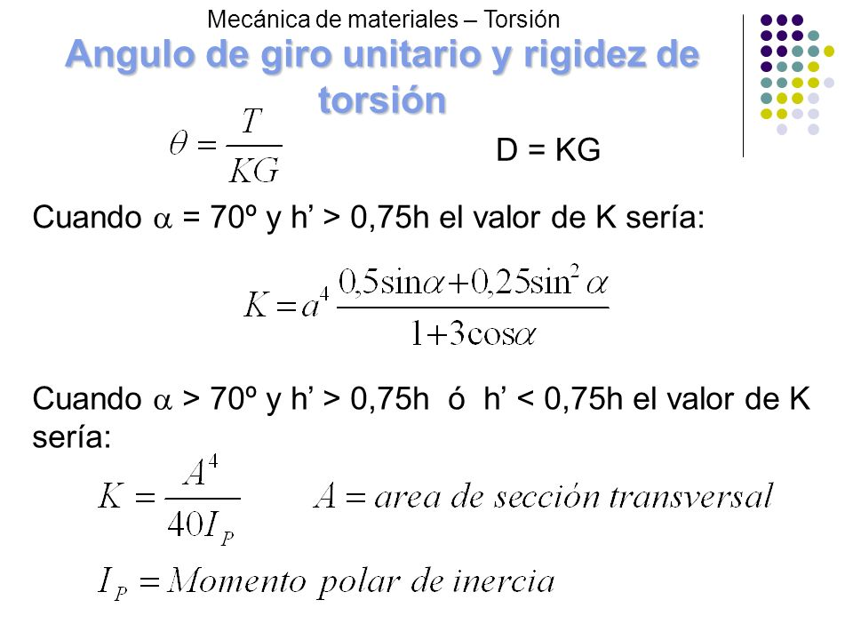 Angulo de giro unitario y rigidez de torsión Cuando = 70º y h > 0,75h el valor de K sería: Cuando > 70º y h > 0,75h ó h < 0,75h el valor de K sería: M