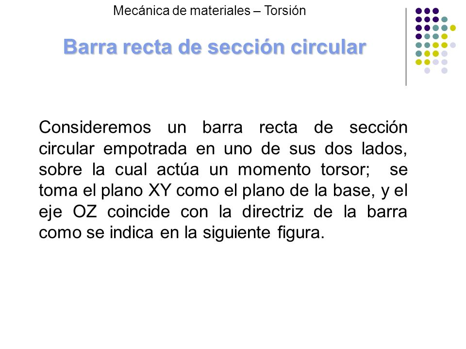 Barra recta de sección circular Consideremos un barra recta de sección circular empotrada en uno de sus dos lados, sobre la cual actúa un momento tors