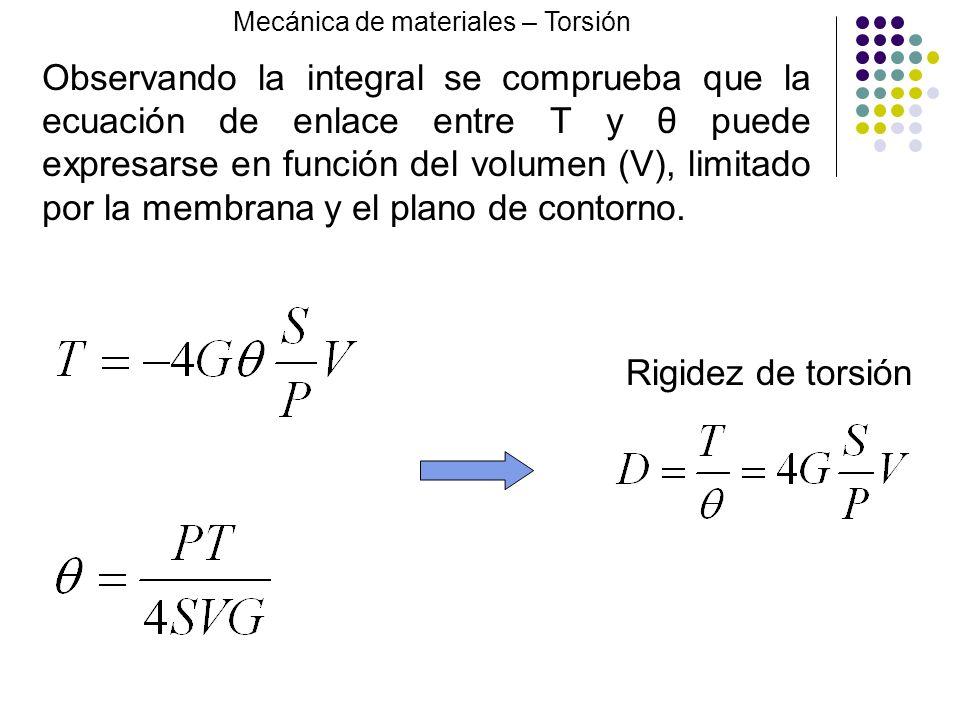 Observando la integral se comprueba que la ecuación de enlace entre T y θ puede expresarse en función del volumen (V), limitado por la membrana y el p