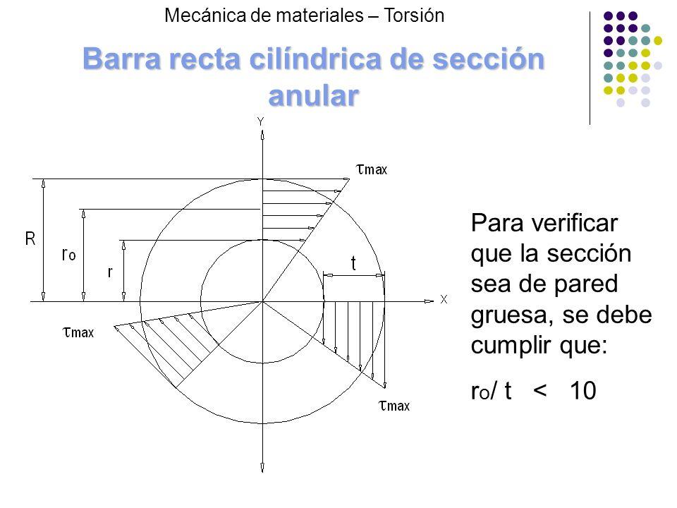 Barra recta cilíndrica de sección anular Mecánica de materiales – Torsión Para verificar que la sección sea de pared gruesa, se debe cumplir que: r o