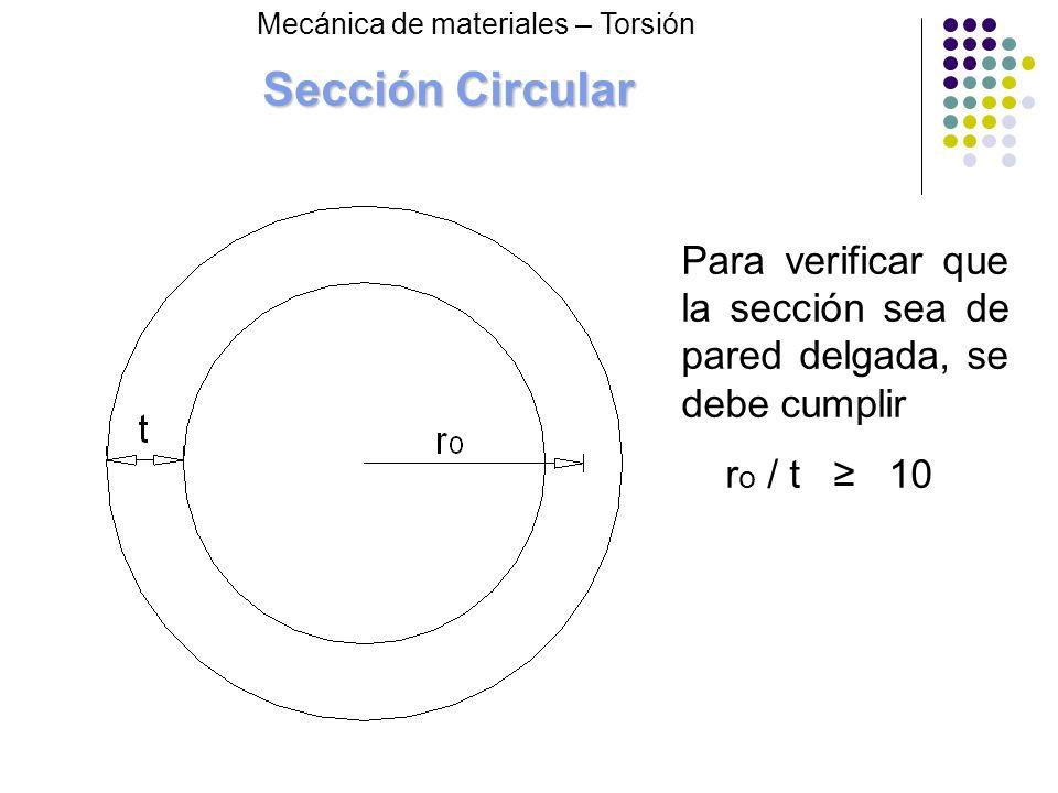 Sección Circular Mecánica de materiales – Torsión Para verificar que la sección sea de pared delgada, se debe cumplir r o / t 10