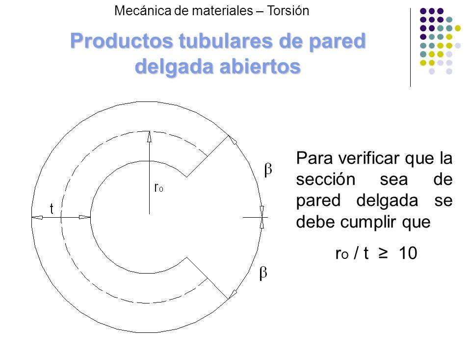 Productos tubulares de pared delgada abiertos Mecánica de materiales – Torsión Para verificar que la sección sea de pared delgada se debe cumplir que