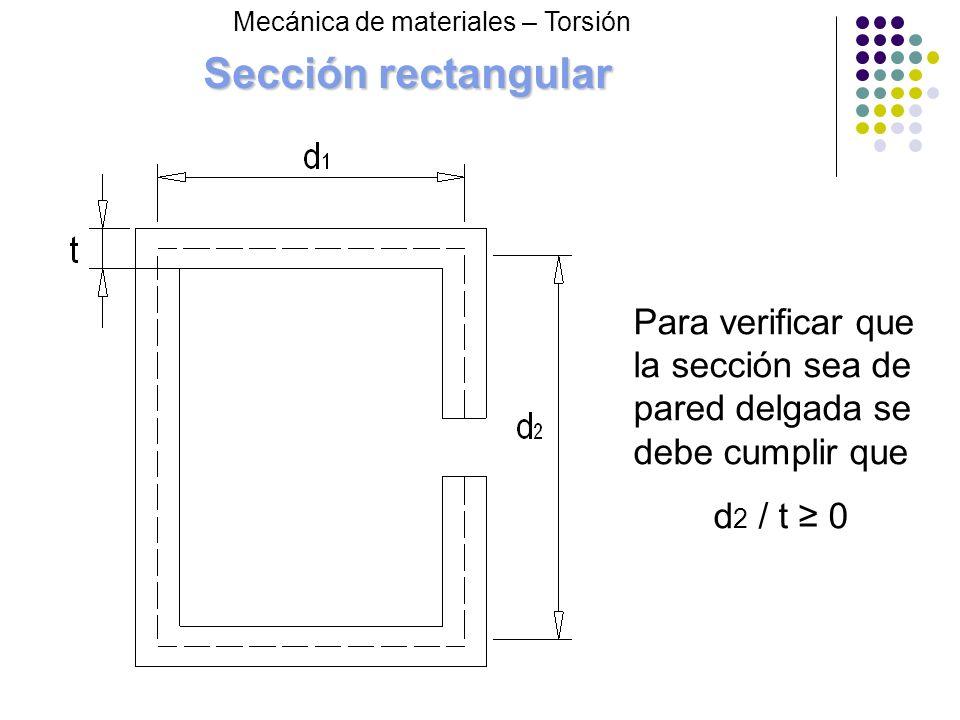 Sección rectangular Mecánica de materiales – Torsión Para verificar que la sección sea de pared delgada se debe cumplir que d 2 / t 0