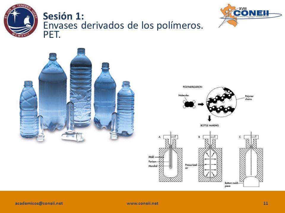 academicos@coneii.net www.coneii.net11 Sesión 1: Envases derivados de los polímeros. PET.