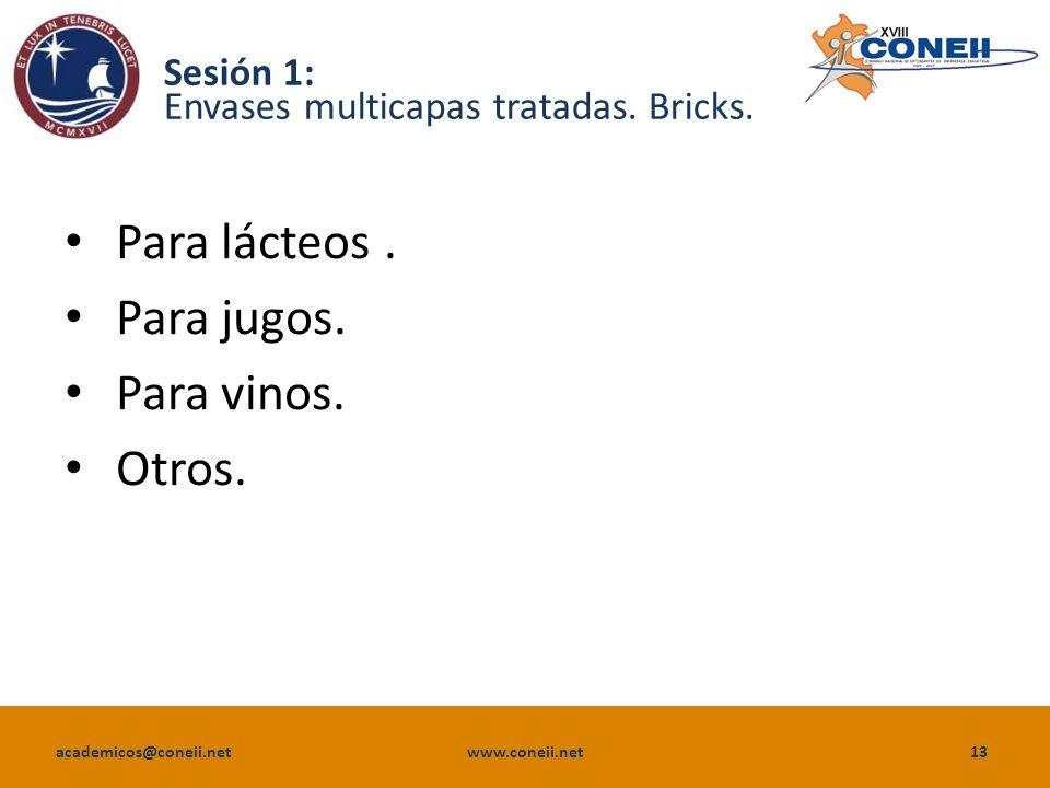 academicos@coneii.net www.coneii.net13 Sesión 1: Envases multicapas tratadas.