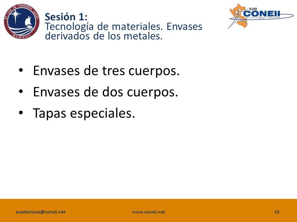 academicos@coneii.net www.coneii.net15 Sesión 1: Tecnología de materiales.