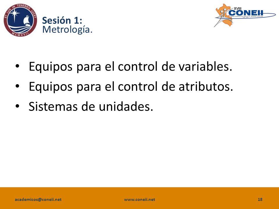 academicos@coneii.net www.coneii.net18 Sesión 1: Metrología.