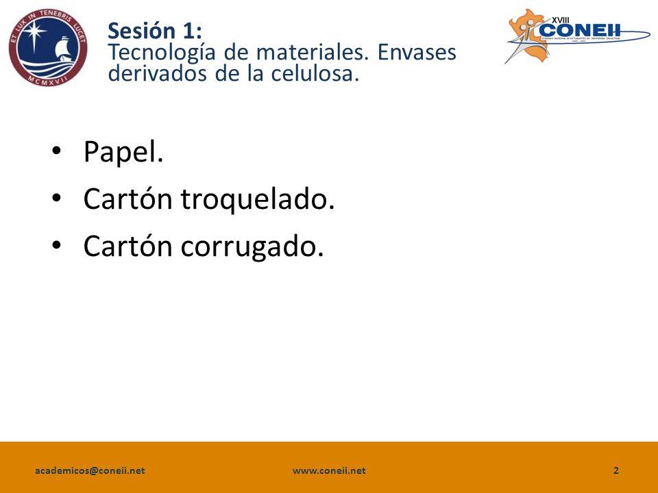 academicos@coneii.net www.coneii.net3 Sesión 1: Envases derivados de la celulosa.