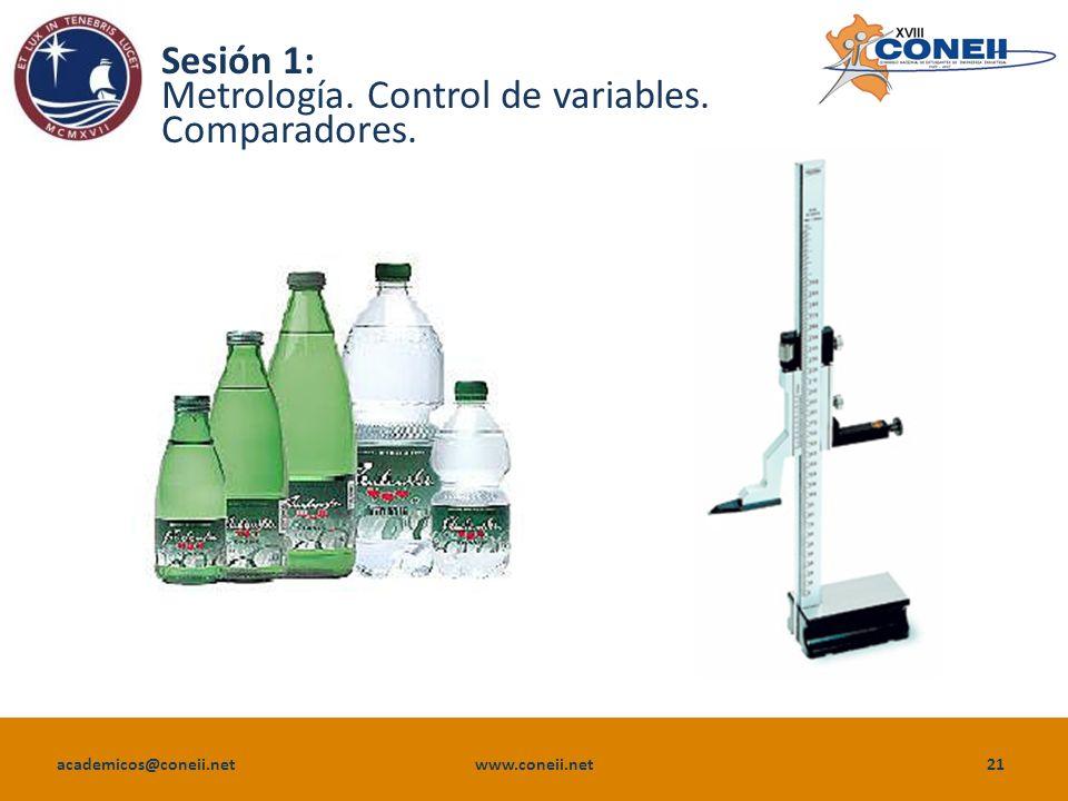 academicos@coneii.net www.coneii.net21 Sesión 1: Metrología. Control de variables. Comparadores.
