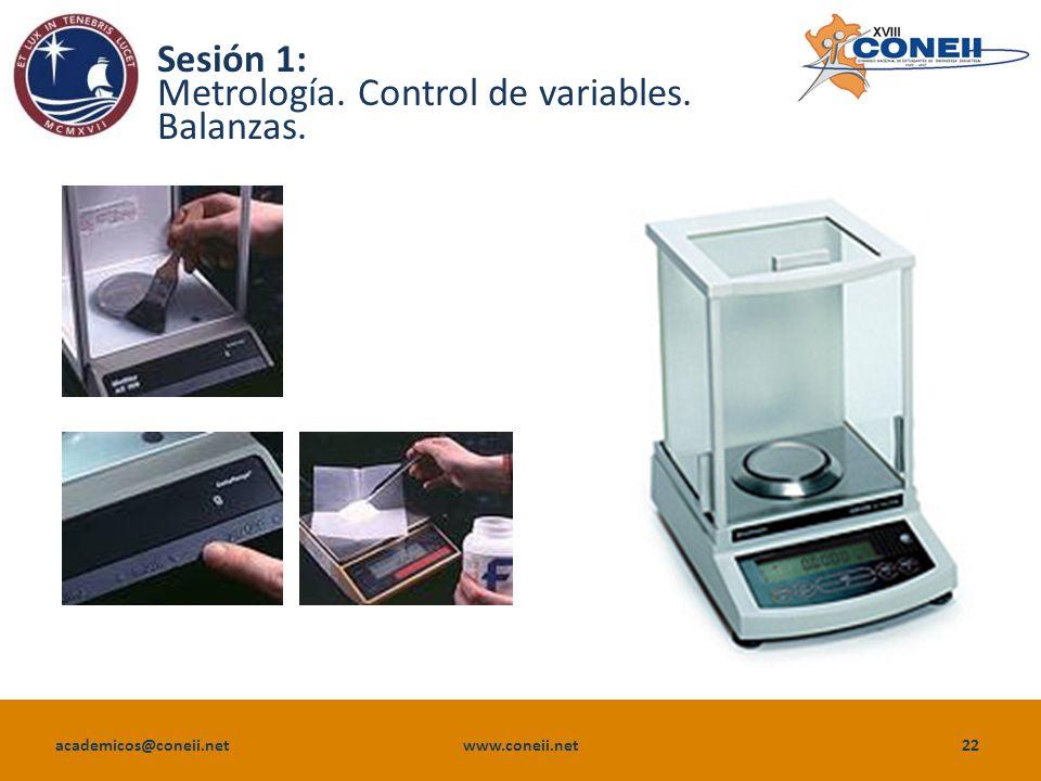 academicos@coneii.net www.coneii.net22 Sesión 1: Metrología. Control de variables. Balanzas.