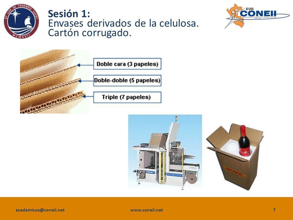 academicos@coneii.net www.coneii.net7 Sesión 1: Envases derivados de la celulosa. Cartón corrugado.