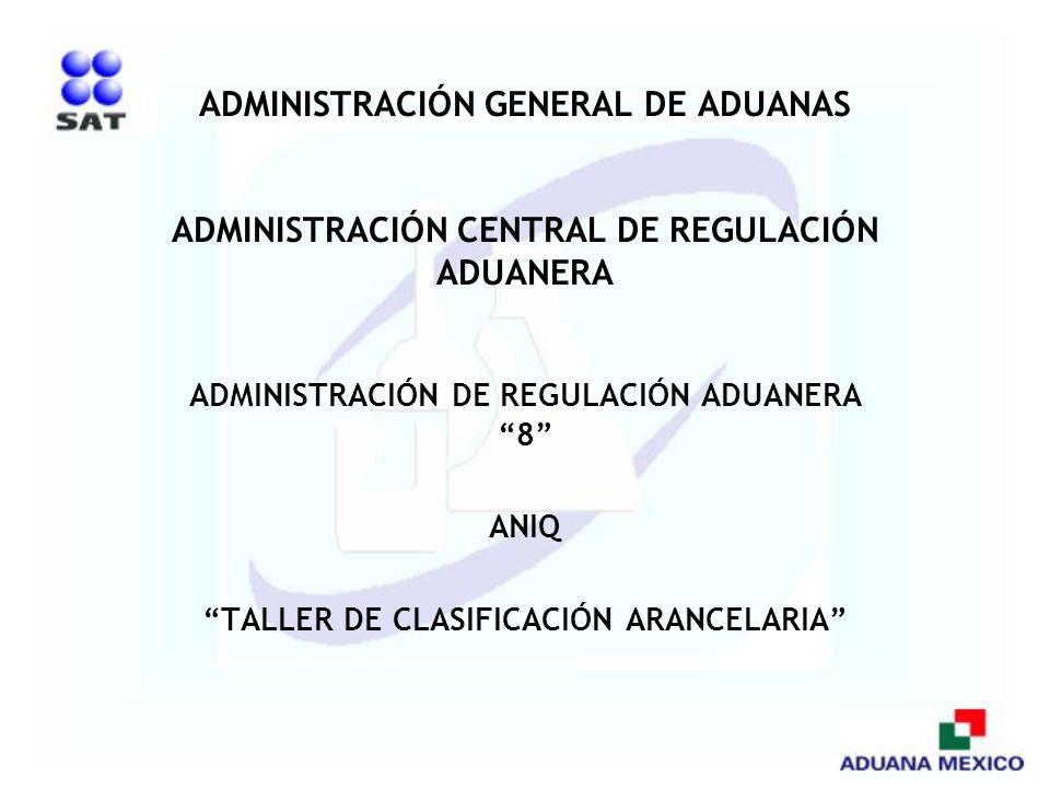 ADMINISTRACIÓN GENERAL DE ADUANAS ADMINISTRACIÓN CENTRAL DE REGULACIÓN ADUANERA ADMINISTRACIÓN DE REGULACIÓN ADUANERA 8 ANIQ TALLER DE CLASIFICACIÓN A