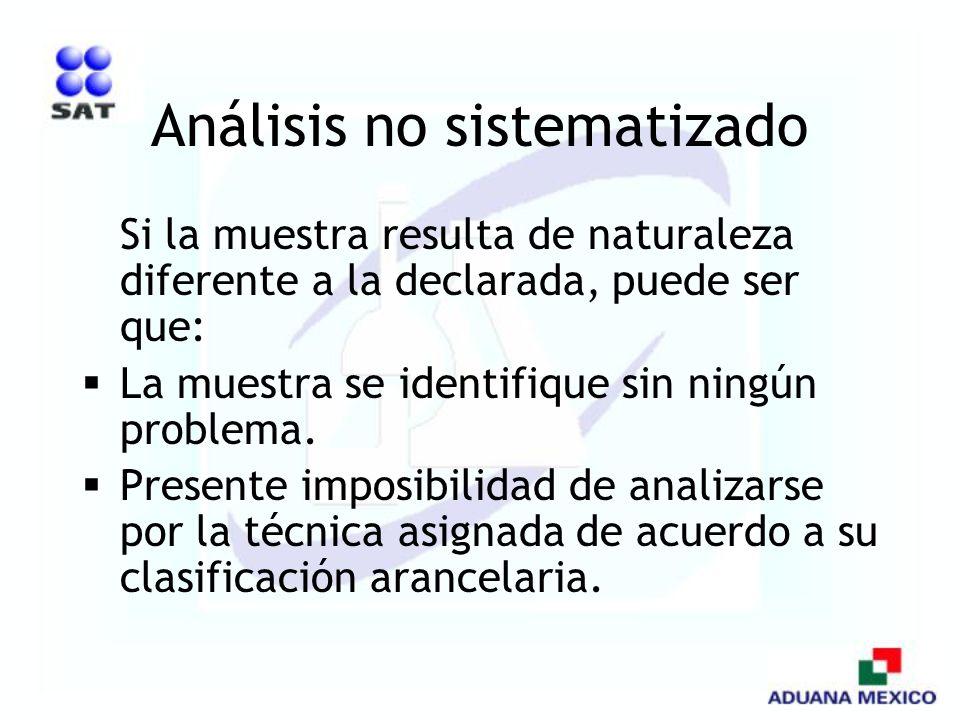 Análisis no sistematizado Si la muestra resulta de naturaleza diferente a la declarada, puede ser que: La muestra se identifique sin ningún problema.