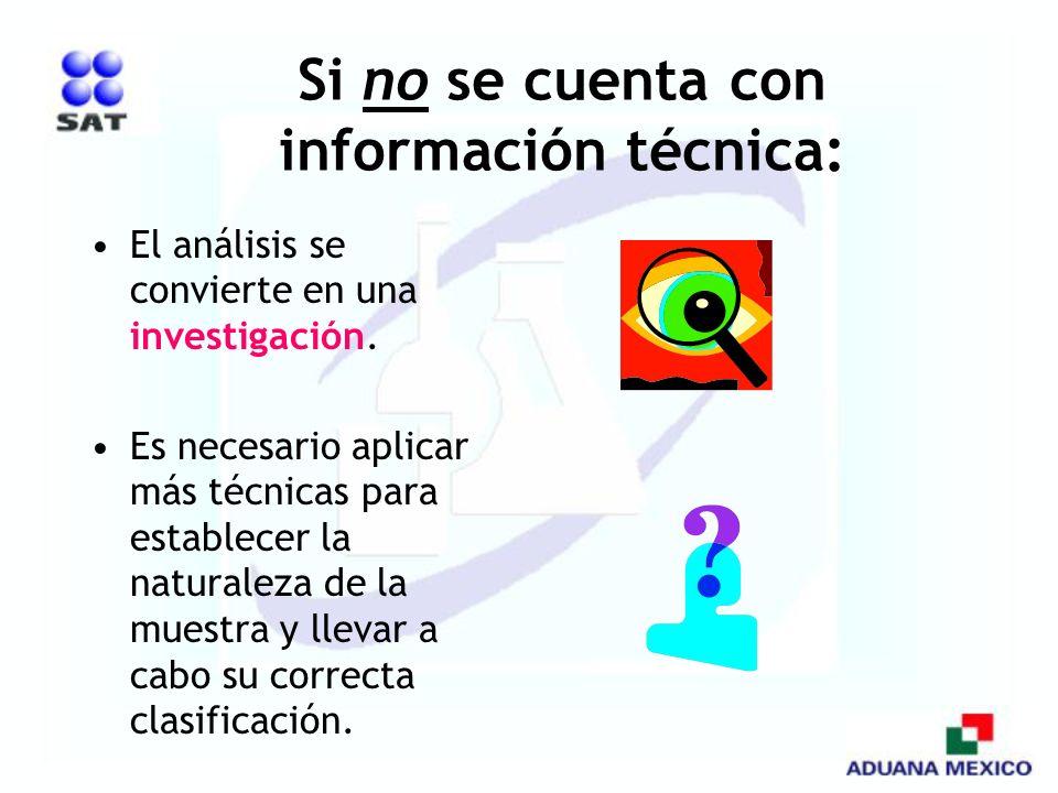 Si no se cuenta con información técnica: El análisis se convierte en una investigación. Es necesario aplicar más técnicas para establecer la naturalez