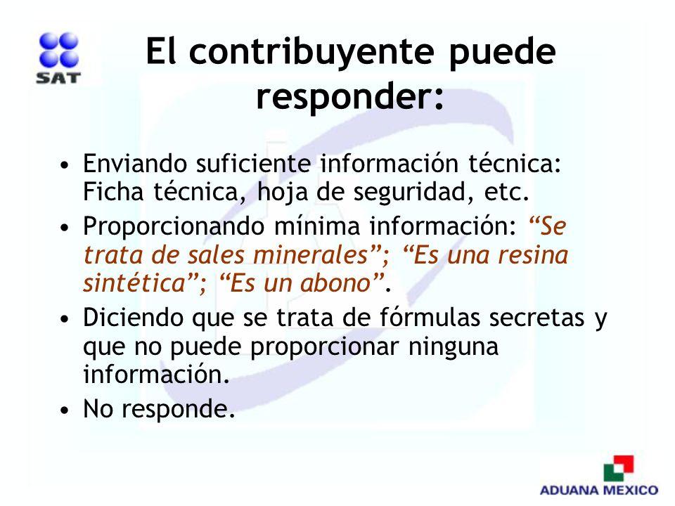 El contribuyente puede responder: Enviando suficiente información técnica: Ficha técnica, hoja de seguridad, etc. Proporcionando mínima información: S