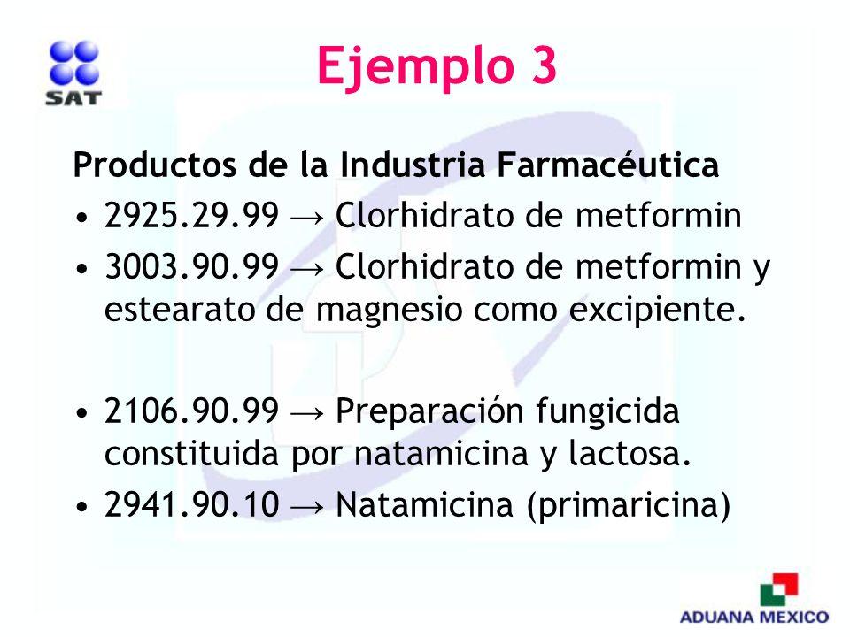 Ejemplo 3 Productos de la Industria Farmacéutica 2925.29.99 Clorhidrato de metformin 3003.90.99 Clorhidrato de metformin y estearato de magnesio como