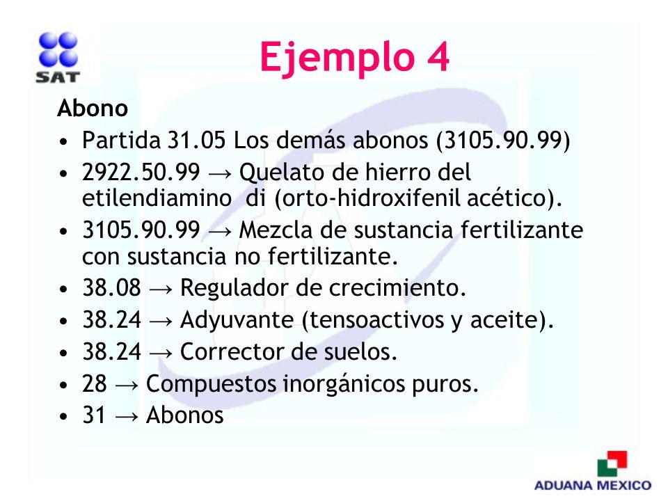 Ejemplo 4 Abono Partida 31.05 Los demás abonos (3105.90.99) 2922.50.99 Quelato de hierro del etilendiamino di (orto-hidroxifenil acético). 3105.90.99