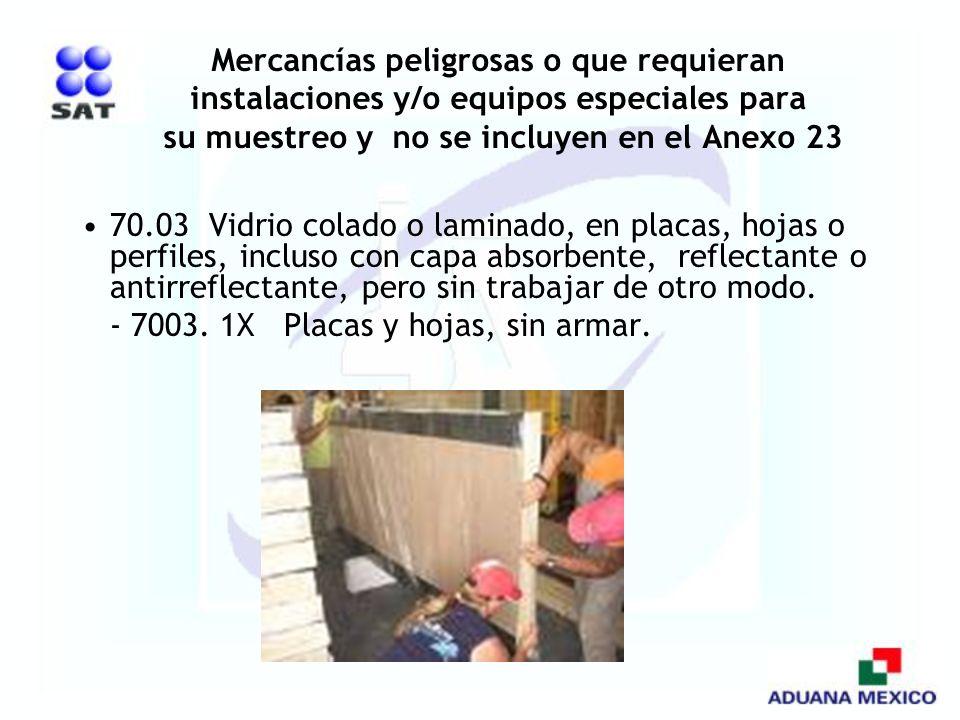 Mercancías peligrosas o que requieran instalaciones y/o equipos especiales para su muestreo y no se incluyen en el Anexo 23 70.03 Vidrio colado o lami