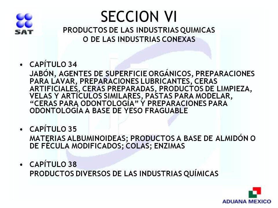SECCION VI PRODUCTOS DE LAS INDUSTRIAS QUIMICAS O DE LAS INDUSTRIAS CONEXAS CAPÍTULO 34 JABÓN, AGENTES DE SUPERFICIE ORGÁNICOS, PREPARACIONES PARA LAV