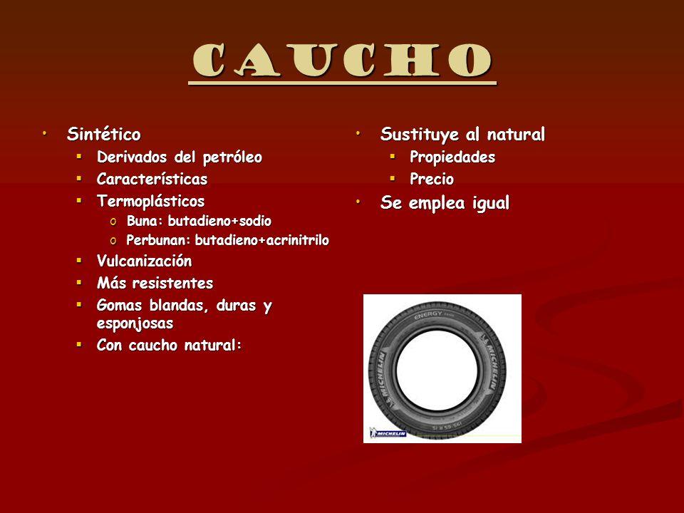 Caucho SintéticoSintético Derivados del petróleo Derivados del petróleo Características Características Termoplásticos Termoplásticos oBuna: butadieno