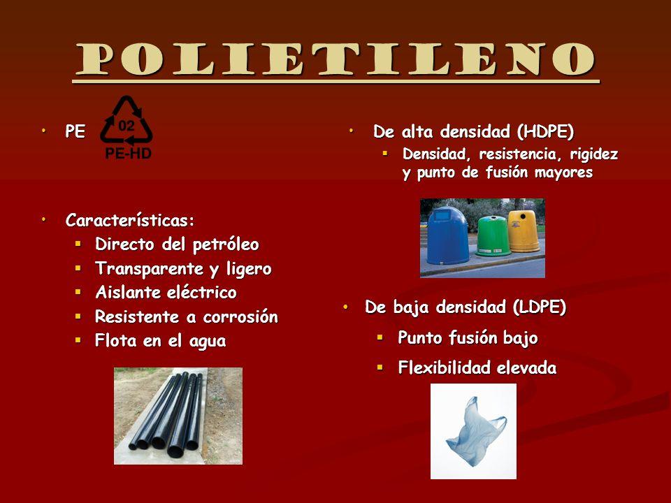 Polietileno PEPE Características:Características: Directo del petróleo Directo del petróleo Transparente y ligero Transparente y ligero Aislante eléct