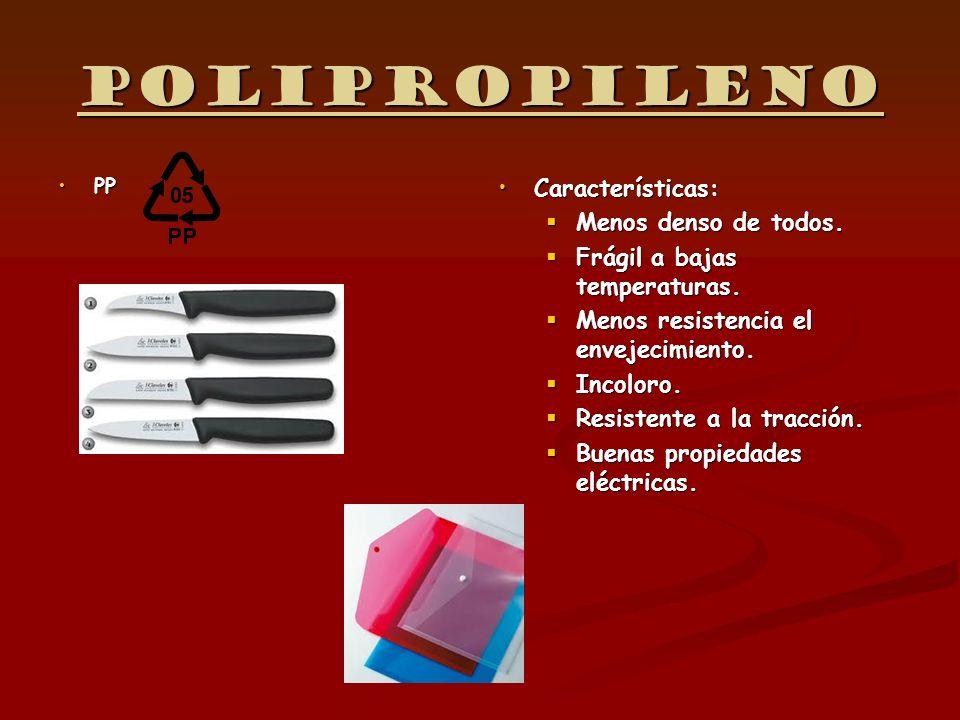 Polipropileno PPPP Características: Menos denso de todos. Frágil a bajas temperaturas. Menos resistencia el envejecimiento. Incoloro. Resistente a la