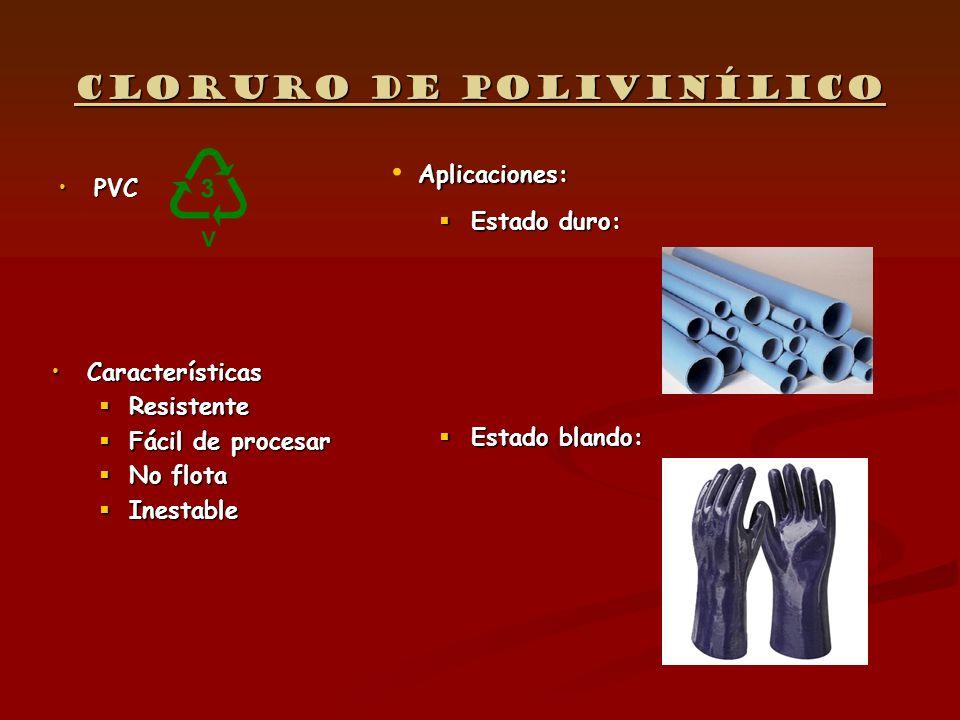 Cloruro de polivinílico PVCPVC Características Resistente Fácil de procesar No flota Inestable Aplicaciones: Aplicaciones: Estado duro: Estado duro: E