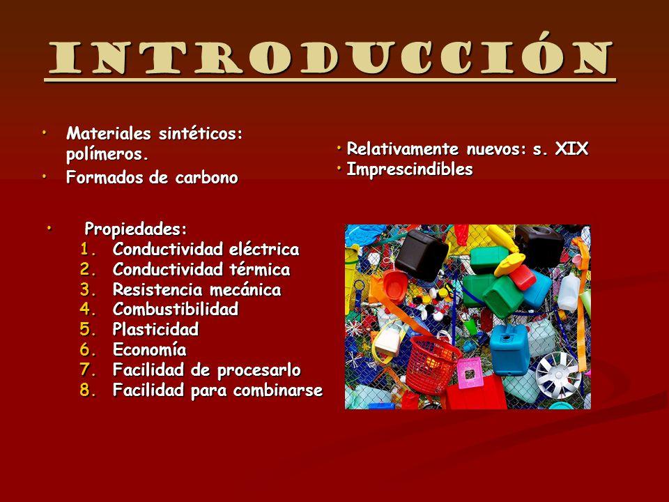 Introducción Materiales sintéticos: polímeros.Materiales sintéticos: polímeros. Formados de carbonoFormados de carbono Propiedades: 1.Conductividad el