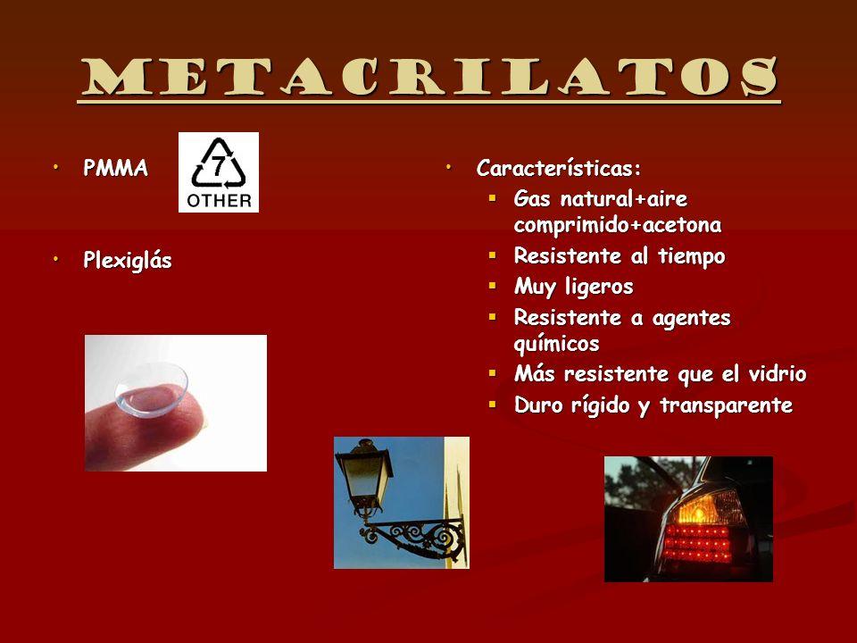Metacrilatos PMMAPMMA PlexiglásPlexiglás Características: Gas natural+aire comprimido+acetona Resistente al tiempo Muy ligeros Resistente a agentes qu